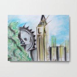Abstract Pastel of Big Ben Metal Print