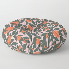 Oranges and Leaves Pattern - Pink Floor Pillow