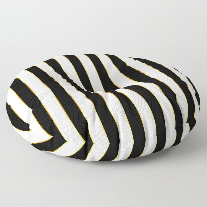 Luxury black and white striped pattern, with thin gold lines. Floor Pillow