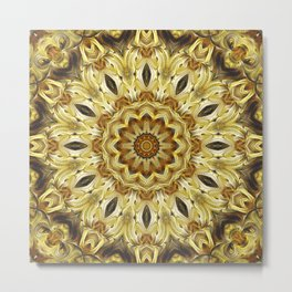 Flower Of Life Mandala (Tawny Autumn) Metal Print