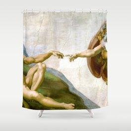 The Creation of Adam Painting by Michelangelo Sistine Chapel Shower Curtain