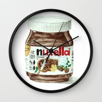 nutella Wall Clocks featuring Nutella by Owl Feather Studio