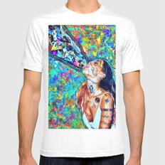 Tribal Shout White Mens Fitted Tee MEDIUM