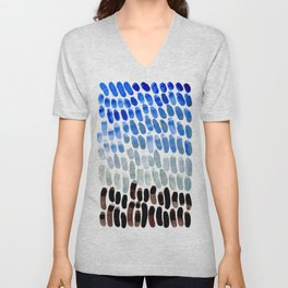 Cool Blue Frosted Winter Palette colorful watercolor Nature Pattern Unisex V-Neck
