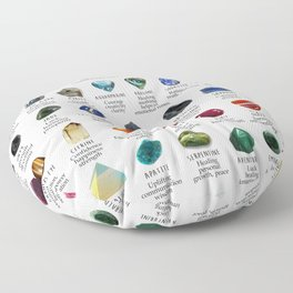 crystals gemstones identification Floor Pillow