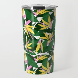 Tropical Bird of Paradise . Yellow and Pink Floral Print Pattern . Summer Beach Print trend . Travel Mug