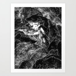 The Child Sleeps (B&W) Art Print
