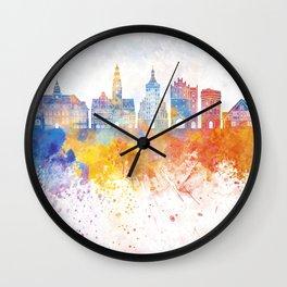 Olsztyn skyline in watercolor background Wall Clock