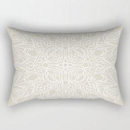 White Lace Mandala on Antique Ivory Linen Background Rectangular Pillow
