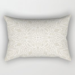 White Lace Mandala on Antique Ivory Linen Background Rectangular Pillow