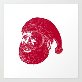 Santa Claus Head Woodcut Art Print