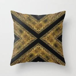 Black Gold | Tribal Geometric Throw Pillow