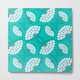 African Floral Motif on Turquoise Metal Print