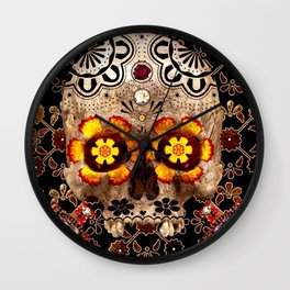 Day of The Dead Skull and Mexican Tile Pattern Wall Clock