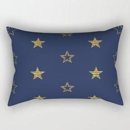 Golden Dust Stars | Pattern Art Rectangular Pillow