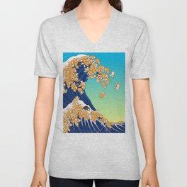 Shiba Inu in Great Wave Unisex V-Neck