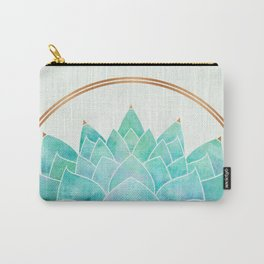 Modern Blue Succulent with Metallic Accents Carry-All Pouch