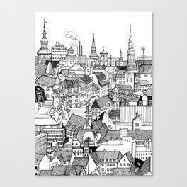 Copenhagen Black & White Canvas Print