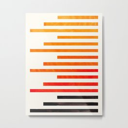 Orange Watercolor Gouache Staggered Stripes Pattern Simple Modern Minimalist Art Metal Print