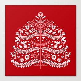 Scandinavian Folk Art Christmas Tree Canvas Print