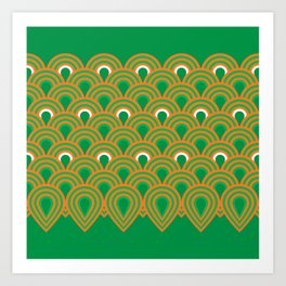retro sixties inspired fan pattern in green and orange Art Print