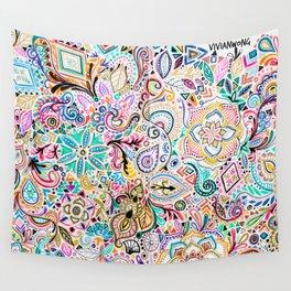 Metallic Flash Tattoo Zentangle Pattern Doodle Wall Tapestry