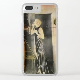 Close Your Eyes Jazz age glamour Clear iPhone Case