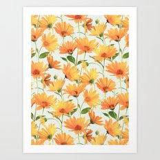 Painted Radiant Orange Daisies on off-white Art Print