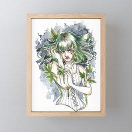 Poison Ivy Inktober Ink and Watercolor Illustration Framed Mini Art Print