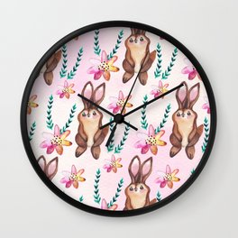 Cute easter pattern with rabbits Wall Clock