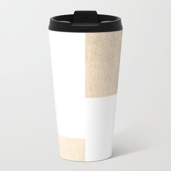 Simply Geometric in White Gold Sands on White Metal Travel Mug
