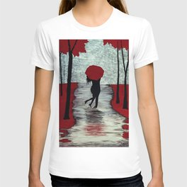 Red Autumn Rain Romance T-shirt