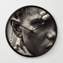 4335 Portrait of Tanzania Maasai Warrior - Africa Wall Clock