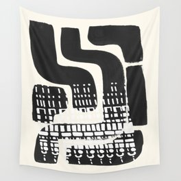 Vintage Abstract Mid Century Modern Playful Dark Black Ink Maze Pattern White Tribal Marks Wall Tapestry