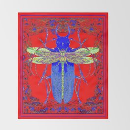 Lemon Dragonfly  Hitch Hiker on  Blue Beetle Red Abstract Art Throw Blanket