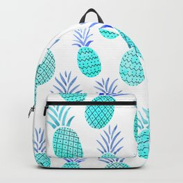 Pineapple Watercolor Illustration in Blue Backpack