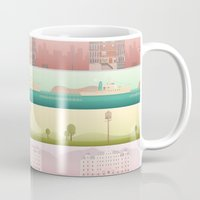 wes anderson Mugs featuring A Wes Anderson Collection by George Townley