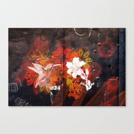 Hummingbird and flower graffiti Canvas Print