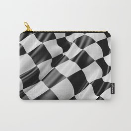Black and White Waving Racing Flag Carry-All Pouch