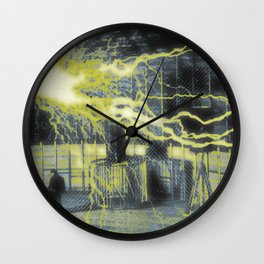 Nikola Tesla Sitting In His Experimental Station Reimagined 2 Wall Clock