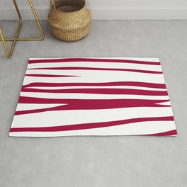 wild lines, ethnic  Red on white elements Rug