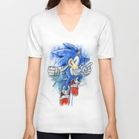 sonic V-neck T-shirts featuring Sonic by Luke Jonathon Fielding