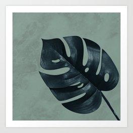 MONSTERA GREEN MARBLE Art Print