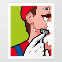 the secret life of heroes Art Prints featuring The secret life of heroes - MarioHair by Greg Guillemin