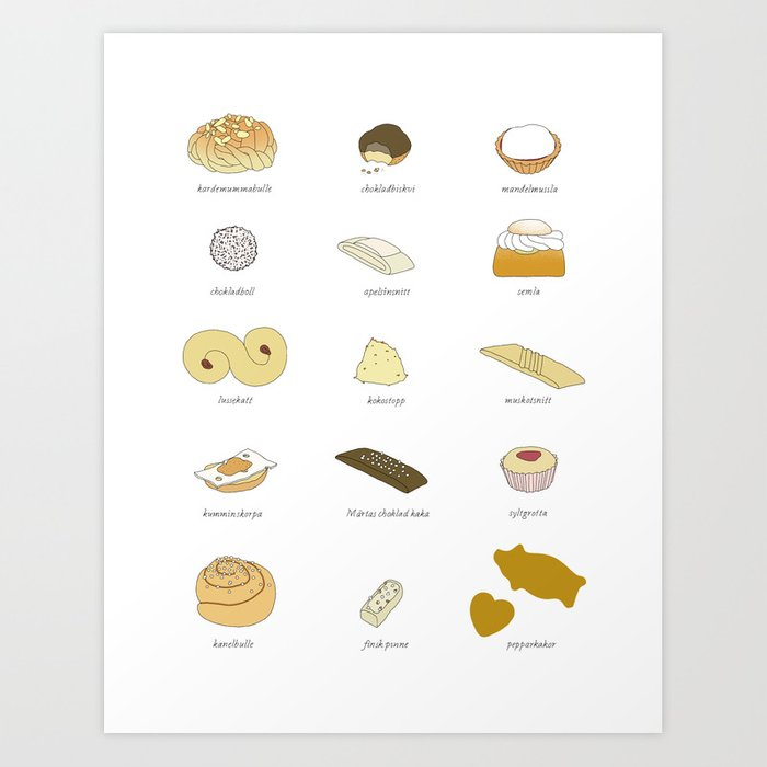 Swedish Cookies (fika) Art Print