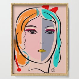 Pastel Pop Art Girl Portrait Minimalist Serving Tray