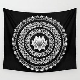 Black and White Lotus Mandala Wall Tapestry