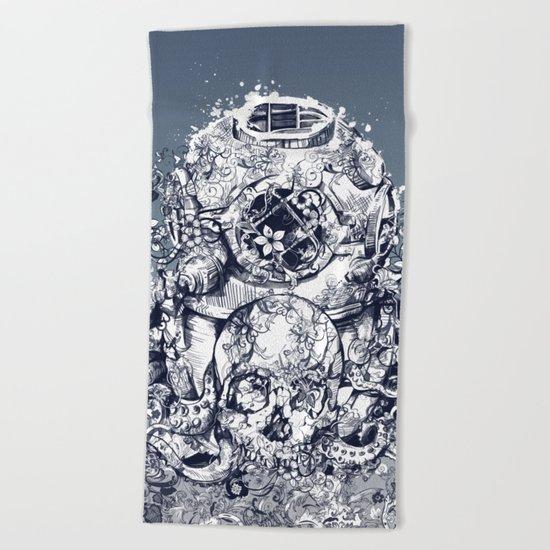 vintage floral skull 3 Beach Towel