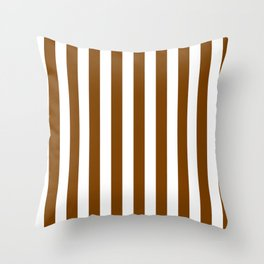Narrow Vertical Stripes - White and Chocolate Brown Throw Pillow