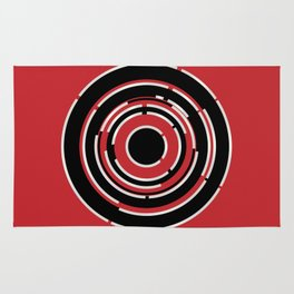 Red Black Circular Abstract Background Rug